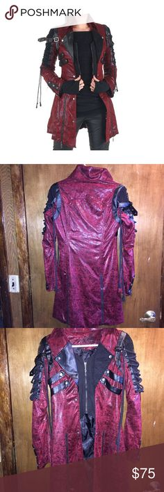 PUNK RAVE RED JACKET! Poison Jacket Red Faux Leather Black Goth Steampunk Womens Coat. In New like Condition! Worn a few times! Perfect  for Halloween! No unwanted rips,holes or stains! Punk Rave  Jackets & Coats