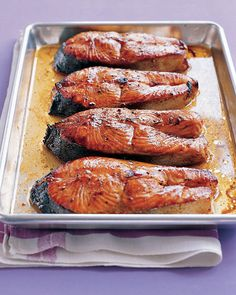 Salmon Steaks With Hoisin Glaze.  Turned out perfectly.  We love salmon, and this was a big hit.  Easy and fast as well as tasty.