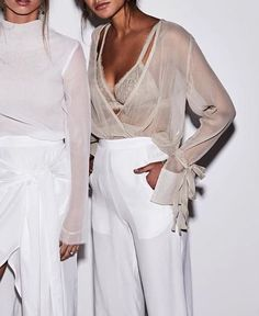Chic all white sheer styles for spring.