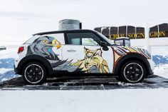 A 'Snow Beasts' MINI and Custom Burton Snowboards by Illustrator Andreas Preis. Mini Cooper Paceman, Mini Copper, Mini Countryman, Morris Minor, Mini One, Above The Clouds, Smart Car, Burton Snowboards, Hand Illustration