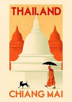Thailand http://www.folioart.co.uk/images/uploads/RuiRicardo-Folio-Illustration-Agency-Retro-Vintage-Graphic-Digital-Travel-Advertising-chiangmail-l.jpg