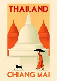 Click to enlarge illustration: Vintage Travel Poster - Chaing Mai - Thailand