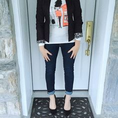 """""""These suede black pumps are perfection, along with this adorable British shirt  #love #a_classic_touch #fblogger #fashionblogger #ootd #sotd #prep #preppy #blazer #jcrew #wearwhatwhereoctober"""" Photo taken by @a_classic_touch on Instagram, pinned via the InstaPin iOS App! http://www.instapinapp.com (10/22/2015)"""