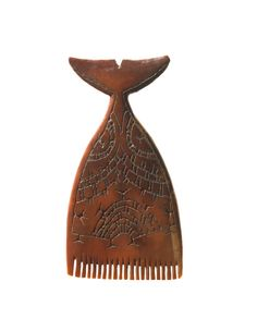 Punuk or Thule Inuit Culture, Greenland. Whale Tail Comb, walrus ivory