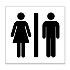 unisex men women bathroom sign sticker decal 8 x 8 continue to the product - Womens Bathroom Sign