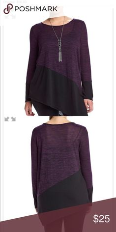 AGB plus size space dye top Create a fun, sleek style in this asymmetrical hem top from AGB that features a necklace accent. Featured in purple / black Scoop neck Long sleeves Color blocked design Asymmetrical hem Necklace accent Rayon / polyester AGB Tops Blouses