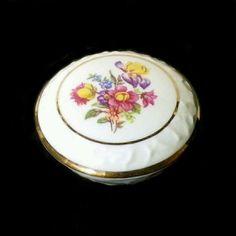 Vtg GERMAN PORCELAIN Covered TRINKET BOX ~ MARTINRODA PM Eger ~ Floral Bouquet