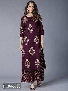 Elegant Rayon Printed Kurta with Palazzo Set from Stf Store Designer Kurtis, Designer Dresses, Girls Fashion Clothes, Girl Fashion, Clothes For Women, Womens Fashion, Fashion Dresses, Robes Western, Western Dresses