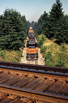 MILW, Maytown, Washington, 1979 Southbound Milwaukee Road freight train passing under Burlington Northern Railroad track near Maytown, Washington, on July 16, 1979. Photograph by John F. Bjorklund, © 2016, Center for Railroad Photography and Art. Bjorklund-68-15-11