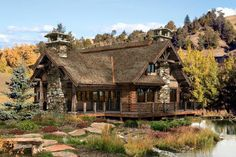 Timber frame and stone house Loft Floor Plans, Log Cabin Floor Plans, Log Home Plans, Home Design Floor Plans, Barn Plans, Small Cabin Plans, Small Log Cabin, Log Cabin Homes, Log Cabins
