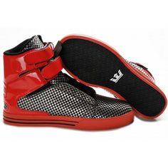 2012 New Supra Tk Society High Tops Red/Balck Men's