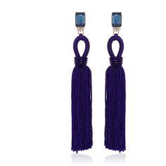 Oscar de la Renta Long Silk Loop Tassel Marine Blue Earrings (€360) ❤ liked on Polyvore featuring jewelry, earrings, blue jewelry, round earrings, loop earrings, blue color earrings and long tassel earrings