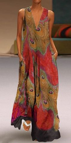 Ethnic Peacock Print V-neck Sleeveless Maxi Dress – chiclinen casual dresses,casual dresses for women,casual dresses outfit,linen dresses,linen dresses for women Casual Dresses, Fashion Dresses, Maxi Dresses, Linen Dresses, Summer Dresses, Latest Fashion Design, Maxi Robes, Two Piece Dress, Mode Outfits