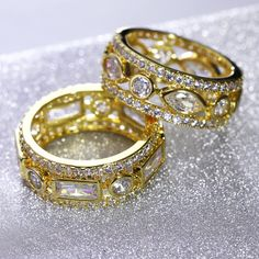 Wedding Ring set rhodium color with cubic zircon Her and His finger Ring high quality Party rings for women Free shipment