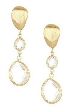 18K Gold Clad Graduated Teardrop Rock Crystal Dangle Earrings
