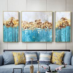 Set of 3 wall art Original Gold art framed painting abstract tree Acrylic Paintings On Canvas art Bl - cuadros Acrylic Painting Flowers, Acrylic Painting Canvas, Painting Frames, Canvas Wall Art, Painting Abstract, Abstract Trees, Acrylic Art, Art Encadrée, Art Mural