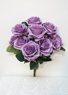 Sweet Home Deco 18 Princess Diana Rose Silk Artificial Flower Valentines Day 10 Stems10 Flower Heads the Most Beautiful Roses for WeddingHome Decor Lavender * This is an Amazon Affiliate link. Click image to review more details.
