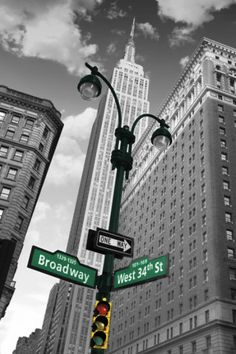 New York - Street Signs Affiche - Street Color Splash, New York Cityscape, New York Poster, I Love Nyc, Equador, Bahamas, Empire State Of Mind, City That Never Sleeps, Concrete Jungle