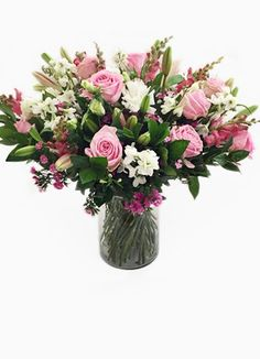 Cape Peninsula Flower & Gift Delivery for all occasions. Gift Delivery, White Vases, Pink White, Cape, Glass Vase, Flowers, Gifts, Decor, Mantle