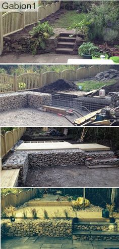 "24"" tall gabions with gabion steps and timber decking above the paved patio http://www.gabion1.co.uk"
