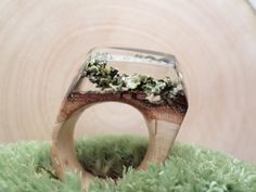 Wooden ring with lichen wood resin jewelry for a by ZieleNaCiele