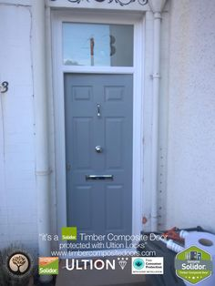 French Grey Tenby Solid with Etched Top Box Solidor Timber Composite Door Door Images, Timber Door, Composite Door, Free Credit, French Grey, 12 Months, Locks, Locker Storage, Composition