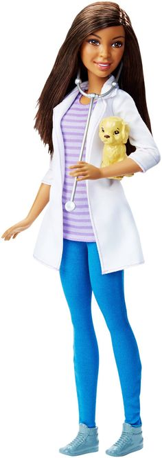 """2015-2016 Barbie Careers Pet Vet - Mattel - Toys """"R"""" Us -  Themed Outfit, Stethoscope and Puppy Patient Add to Play Possibilities Tan Lab Puppy Nikki AA African American"""