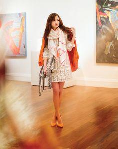 6f467a5e0e85 Michael Kors orange raincoat, $150, Belk; BCBG white dress, $268, Belk