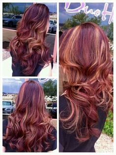 Dark Copper Red Base With Caramel Highlights