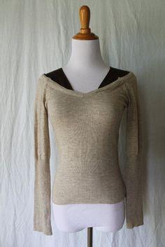 Rorenzo Wool Mock Layered Beige & Brown Ladies Pullover Sweater Made in Korea S #Anthropologie #VNeck