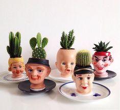 3e6c3b69aae2206a4c6f000ea3ac0e4a Diy Recycle, Reuse, Creepy Dolls, Cactus Planters, Recycled Planters, Head Planters, Cacti And Succulents, House Plants, Pot Plants