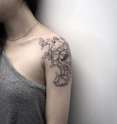 Latest Black Ink Peony Flowers Tattoo On Women Left Shoulder
