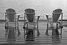 Adirondacks by the Lake in Black & White