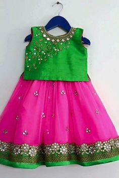 Kids lehenga with Mirror Work - Indian Dresses Frocks For Girls, Dresses Kids Girl, Cute Dresses, Kids Outfits, Baby Dresses, Baby Outfits, Kids Dress Wear, Kids Gown, Kids Wear