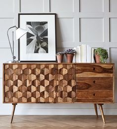The Zabel sideboard features three-dimensional geometric-shaped cladding. Celebrate artisan making at Swoon, hand-crafted designs without the inflated price tag. Sideboard Dekor, Kitchen Sideboard, Small Sideboard, Sideboard Ideas, Vintage Sideboard, Credenza, Luxury Interior Design, Interior Design Inspiration, Interior Styling