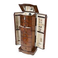 Louis Jewelry Armoire Cabinet Chest Stand Organizer Walnut Wood Box Mirror