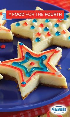 """Nothing says """"I love America"""" quite like these Old Glory Cheesecake Bars. With Philadelphia Cream Cheese, graham cracker crumbs, and festive red, white, and blue sprinkles and gels, these are the perfect delicious dessert for your 4th of July Party."""