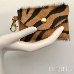 Zebra print cow hair wallet