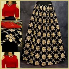 Beautiful Black and Red Designer Lehenga Choli.