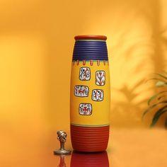 Items similar to ExclusiveLane 'Warli In Frames' Elongated Tumbler Shaped Terracotta Vase Inch) on Etsy
