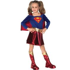 Description #882314 Be a super hero this Halloween with the Deluxe Super Girl Costume. The Super Girl dress has a blue top with Super Girl logo design on the chest and an attached shiny red skirt sepa