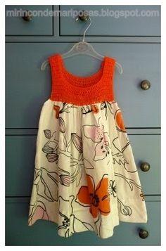 my corner of butterflies: A dress for summer Crochet Yoke, Crochet Fabric, Crochet Girls, Crochet For Kids, Sewing Clothes, Crochet Clothes, Toddler Dress, Baby Dress, Little Girl Dresses