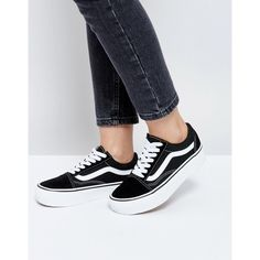 7c6b326f31e Vans Old Skool Platform in Black (750 SEK) ❤ liked on Polyvore featuring  shoes