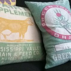 My feed sack pillows for the family room!