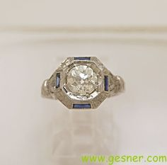 1.07ct. Diamond, Sapphire & 18K White Gold Art Deco Engagement Ring - from gesnerestatejewelry on Ruby Lane
