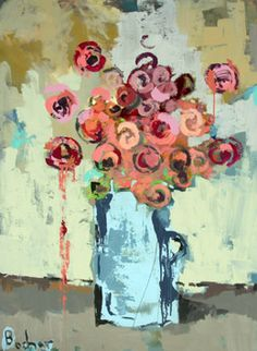pink roses in blue vase 48x36.jpg  Gary Bodner
