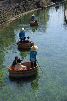 Tarai Boat (Tub Boat) River Cruise in Ogaki, Gifu, Japan
