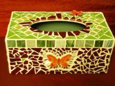 mosiac tissue boxes | Jakkie Kemp Mosaic Art, Mosaic Glass, Stained Glass, Glass Art, Tissue Box Covers, Tissue Boxes, Flea Market Booth, Glass Jewelry Box, Kleenex Box