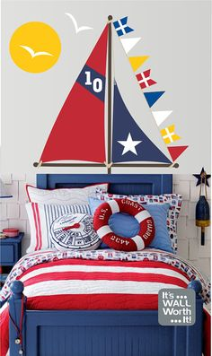 Sailboat Sails Vinyl Wall Decal   Boy's Bedroom by ItsWallWorthIt