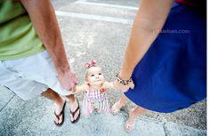 looking down at toddler